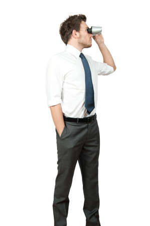 find a job: Businessman looking for business on white background Stock Photo