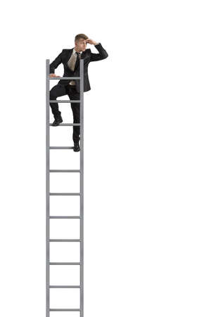 Businessman looking the future on a stairs on white background