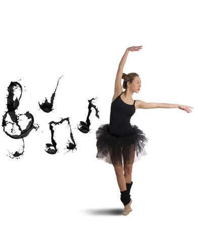 Dancer concept with  musical note splash effect on white background photo