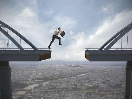 Business concept van zakenman overwinnen van de problemen
