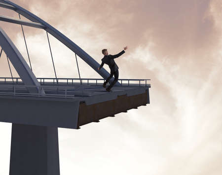 obstruction: Concept of financial collapse with businessman at the finish of a bridge Stock Photo