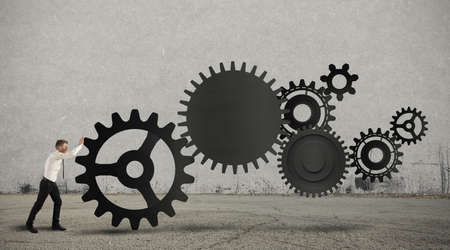 cog gear: Concept of business in action with gear system Stock Photo