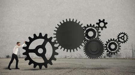 Concepto de negocio en la acción con sistema de engranajes