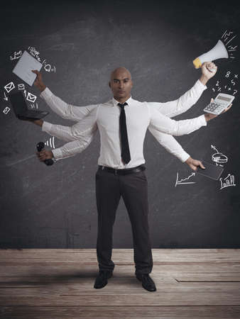 weariness: Concept of multitasking businessman