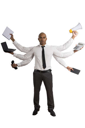 tired businessman: Concept of multitasking businessman on white background Stock Photo