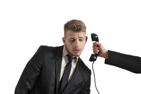 Concept of businessman surprised by a call Stock Photo - 18381188