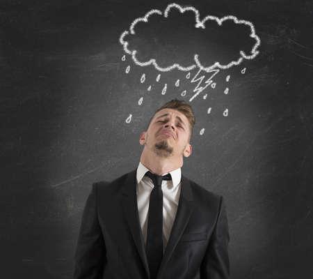 pessimist: Concept of pessimist businessman for the crisis