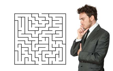 seek: Businessman seek the solution of a complex maze