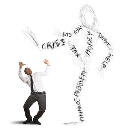 schuld: Concept van zakenman onderdrukt door het monster van de crisis