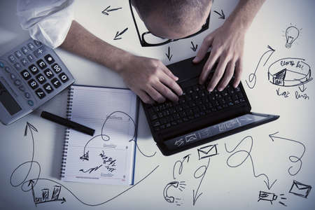 multitasking: Concept of multitasking businessman at  work Stock Photo