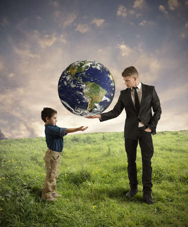 Concept of help new generation from pollution photo