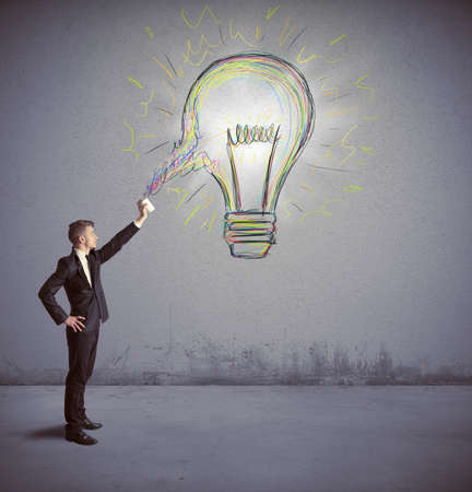 create idea: Concept of businessman with a creative big idea