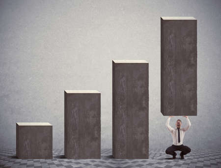 Businessman help negative statistics of crisis Stock Photo - 18575479