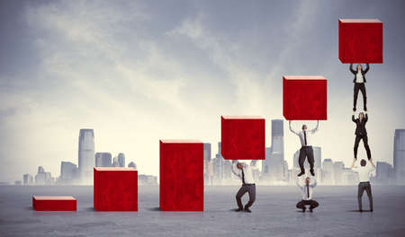 Concept of teamwork and corporate profit Stock Photo