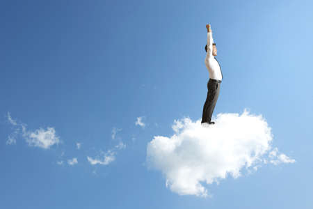 obtain: Success concept of a businessman on a cloud
