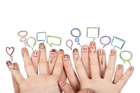 business relationship: Concept of social netowork with hands