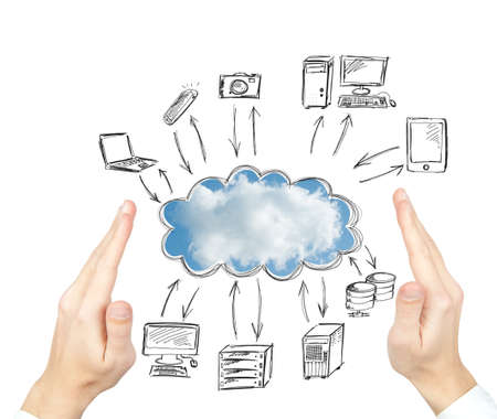 clouding: Virtual cloud compute network concept Stock Photo