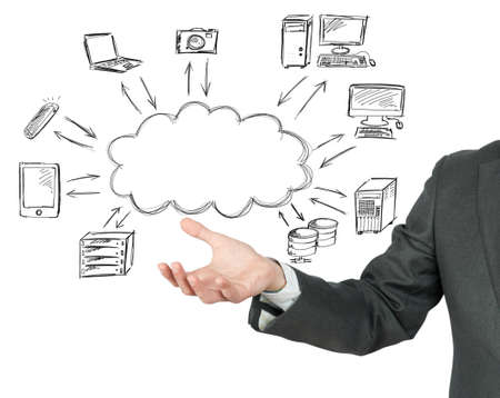 clouding: Virtual cloud compute network concept Stock Photo