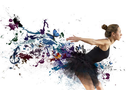 Girl dancing with motion effect on white background photo