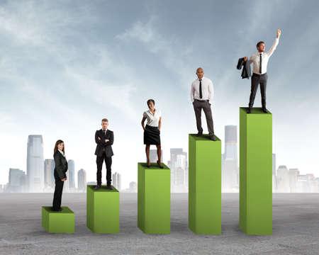 verhogen: Concept van positieve statistieken trend van een team
