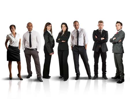 reuniones empresariales: Concepto de equipo global de negocios en el fondo blanco Foto de archivo