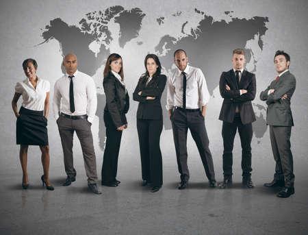 ganar: Concepto de equipo global de negocios en el fondo blanco Foto de archivo
