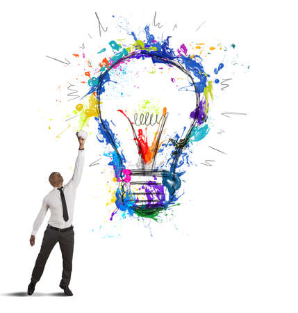 lightbulb idea: Concept of creative business idea with drawing businessman