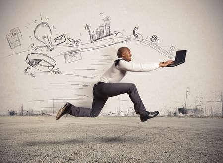 Concepto de negocio de rápido con el funcionamiento de negocios Foto de archivo