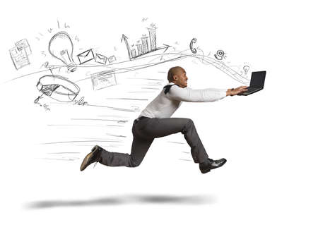 internet: Concept of fast business with running businessman