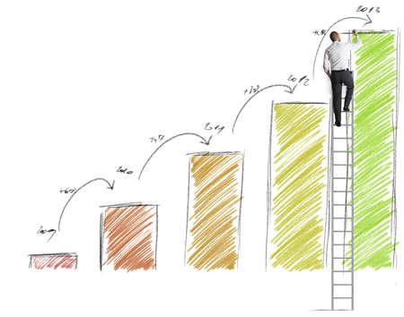 Businessman draws prevision of statistics Stock Photo - 18917945
