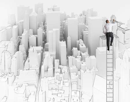 arquitecto: Ciudad y la oficina de un arquitecto bosquejo Foto de archivo