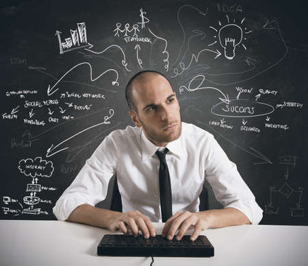 Businessman works for a business project Stock Photo - 18917968
