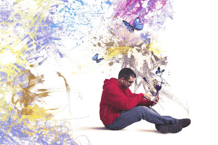 create idea: Concept of creative technology with boy and tablet Stock Photo