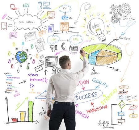 estadisticas: Empresario concepto empresarial moderno dibujo