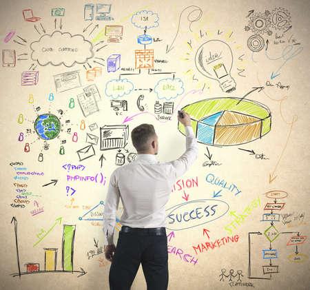 investigaci�n: Empresario concepto empresarial moderno dibujo
