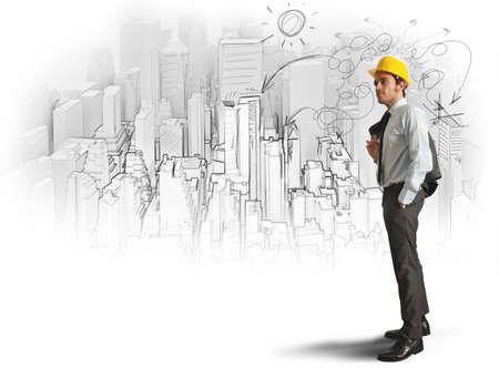 ambi��o: Cidade e escritório esboço de um arquiteto