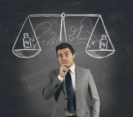 Concept of businessman with his decision Stock Photo - 18917970