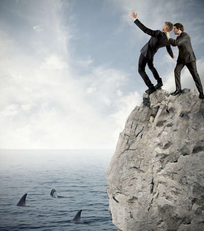 fear of failure: Concept of competition in business with falling businessman