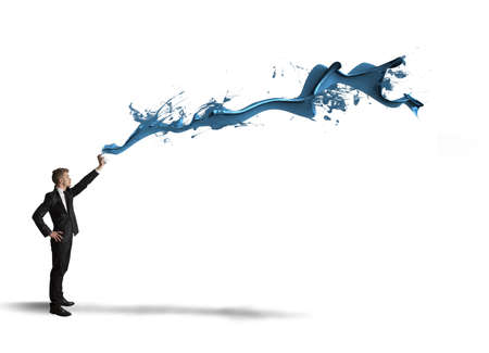 creativity artist: Concept of paint with blue Stock Photo