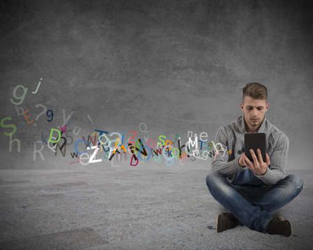 Boy with tablet and internet and social network concept Stock Photo - 19248818