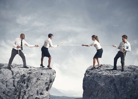 Concept van het team en de concurrentie in het bedrijfsleven Stockfoto