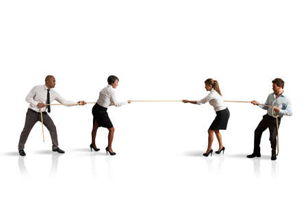 business rival: Concept of team and competition in business Stock Photo