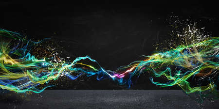 bright future: Modern abstract motion banner on dark background Stock Photo