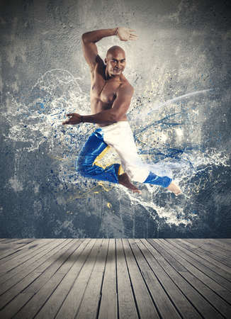 Man and modern dance concept with motion effect