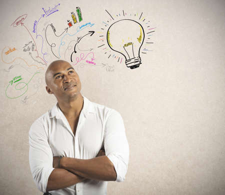 successful strategy: Concept of creative business of a businessmsn Stock Photo