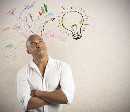 inspirerend: Concept van de creatieve bedrijf van een businessmsn Stockfoto