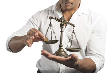 avid: Concept of earning balance with businessman that weighs the money