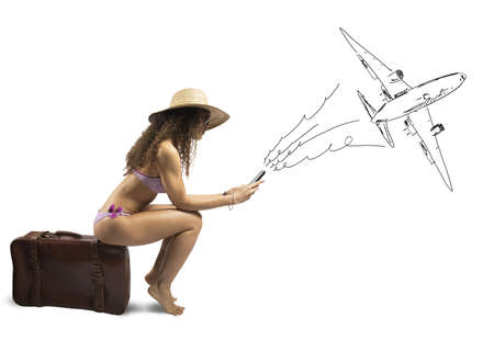 Concept of girl ready to travel with airplane photo