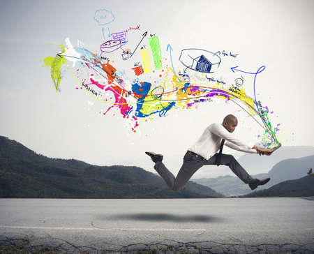 performance art: Concept of creative business with running businessman Stock Photo