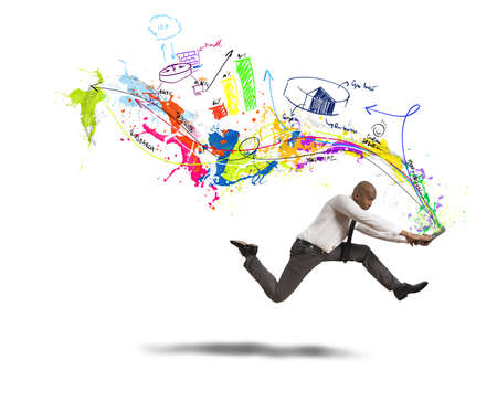 Concept of creative business with running businessman photo
